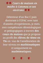 Cours à domicile  de Mathématiques