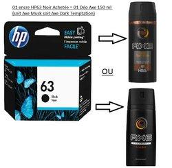 Encre HP 63 noire  + déodorant Axe 150ml