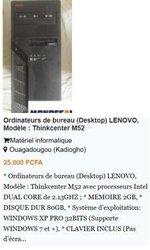 Ordinateurs de bureau Lenovo Thinkcenter A57