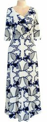 Robe Longue - Imprimés - Manche ¾  - Tissu Elasthanne