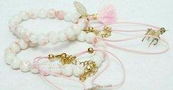 Bracelets en Perle Class et Stylé avec Logo – Ensemble Pour Femme Couleur Rose Blanc