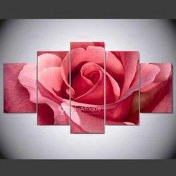 Tableau fleur rose 5 pièces