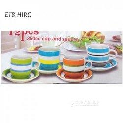 Tasses à café + sous tasses - multicolore - 12 pièces
