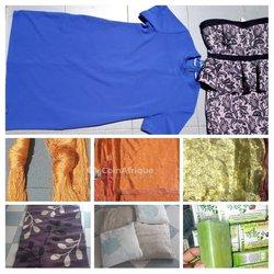 Vêtements - rideaux - savon - tapis - coussins