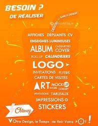 Logos - affiches - cartes de visite - kakémono - étiquettes - enseignes lumineuses - décoration d'intérieur - travaux d'art