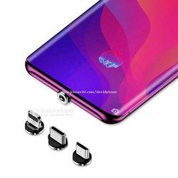 Chargeur smartphone 3 en 1 câble magnétique led micro câble USB