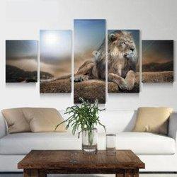 Tableau Lion 5 pièces
