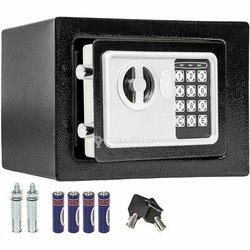 Coffre-fort électronique de sécurité en acier - 17 cm x 23 cm x 17 cm - noir