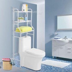 Etagère de salle de bain,meuble de rangement au-dessus des toilettes wc - blanc