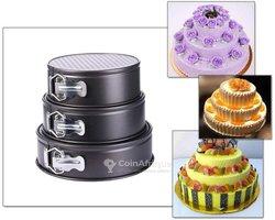 Moule à gâteau anti-adhésif - acier 3 pièces