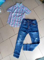 Ensemble chemise - pantalon jeans friperie