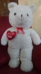 Peluche ours blanc love