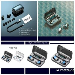 Écouteurs bluetooth F9 tactile + powerbank intégré