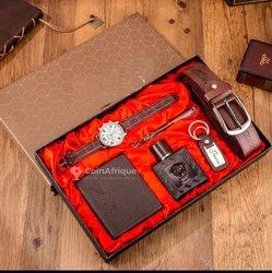 Ensemble montre - porte-feuille - ceinture - parfum - stylo - porte-clé