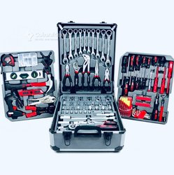 Kraft World valise à outils chariot à outils rempli d'outils profi | 4 niveaux | manche télescopique | boîtier alu 399 pièces