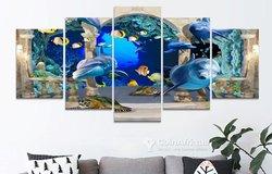 Tableau océan dauphin