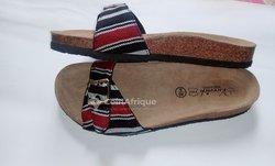 Sandale en kanvô pagne tissé