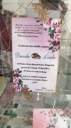 Confection carte de mariage - étiquette vin et pins