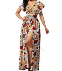 Robe en soie - imprime wax - longue robe fleurie