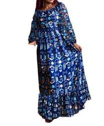 Robe en soie - imprime wax - bleu